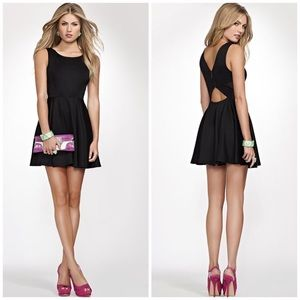 Guess   Sexy Black Cutout Fit & Flare Ponte Dress